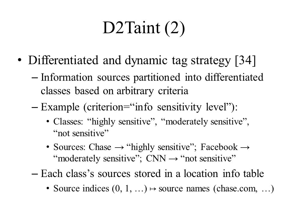 D2Taint (2) Differentiated and dynamic tag strategy [34]